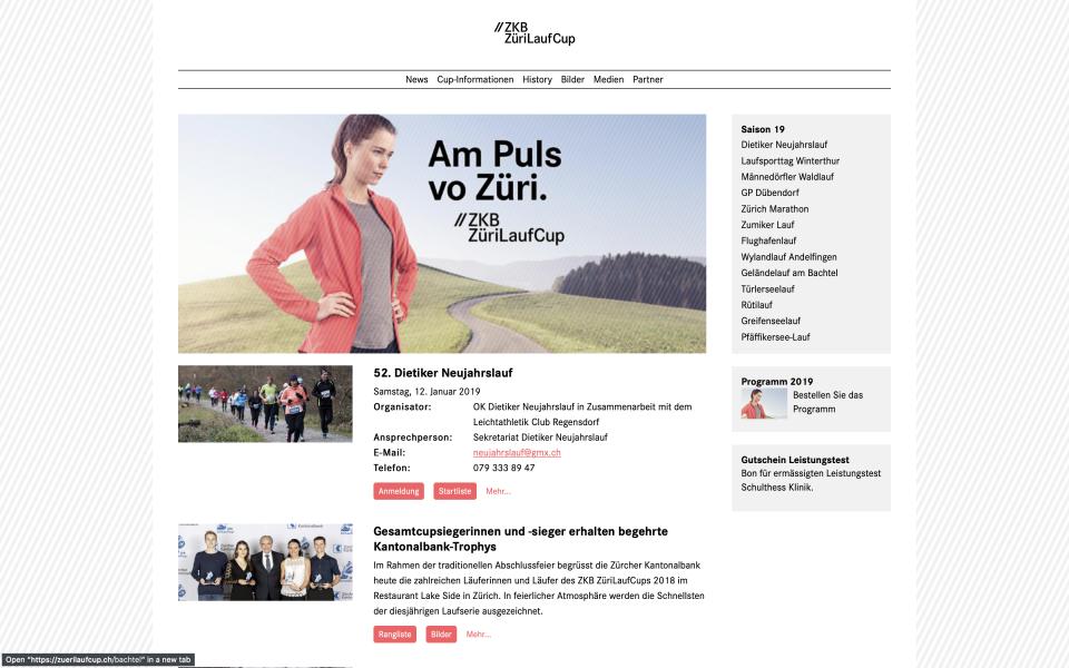 Webseite ZKB ZüriLaufCup